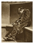 Homeless Man on Blackfriars Bridge, from 'Wonderful London', Published 1926-27 (Photogravure) Giclee Print by  English Photographer