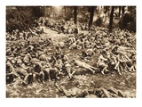 German Prisoner Collection Point in a Forest at Reims (B/W Photo) Giclee Print by  German photographer