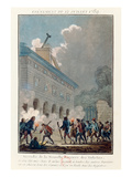 Setting Fire to the Wall of the Fermiers Generaux in Paris on 12 July, 1789 (Coloured Engraving) Giclee Print by  French