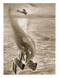 The Destruction of a German Seaplane by Flight-Sub-Lieutenant Ince Off the Belgian Coast (Litho) Giclee Print by W. Avis