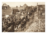 German Convoy Advances Through the Contested Territory Between Peronne and St. Quentin (B/W Photo) Giclee Print by  German photographer