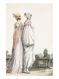 Two Ladies in Promenade Dresses, 1796 (Coloured Engraving) Giclee Print by  French