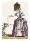 Lady Plays with a Monkey, Engraved by Patas, Plate No.119 Giclee Print by Pierre Thomas Le Clerc
