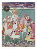 Portrait of Maharajah Ajit Singh of Jodhpur (1678-1724) (Gouache on Paper) Giclee Print by  Indian