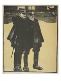 Police Talking in an Empty Street, Illustration from 'L'Assiette Au Beurre: La Police' Giclee Print by Georges d' Ostoya