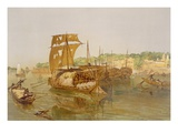 Boats on the Ganges, from 'India Ancient and Modern', 1867 (Colour Litho) Giclee Print by William 'Crimea' Simpson