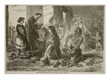 First Introduction of Christianity into Britain (Litho) Giclee Print by  English