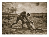 Sergeant Fuller Runs Forward, under a Terrific Fire, to Rescue His Wounded Officer, Captain Haggard Giclee Print by H. Ripperger