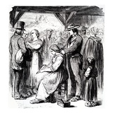 Fair for the Sale of Hair in the Auvergne District, 1862 (Engraving) Giclee Print by  Steyert
