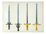 Swords, Plate from 'A History of the Development and Customs of Chivalry', by Dr. Franz Kottenkamp Giclee Print by Friedrich Martin Von Reibisch