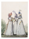 Morning Dresses, Fig. 16, Fig. 17 and Fig. 18 from 'The Gallery of Fashion', 1797 Giclee Print by Nicolaus von Heideloff