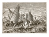The Naval Battle in the Harbour of Syracuse (Litho) Giclee Print by  English