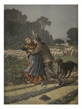 Shepherdess Defended by Her Dog, Illustration from 'Le Petit Journal: Supplement Illustre' Giclee Print by Henri Meyer