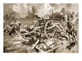 Farrier-Sergeant T. Harrison Rescuing Horses and Guns from an Untenable Position under Shell-Fire Giclee Print by Howard K. Elcock