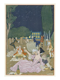 On the Lawn, Illustration for 'Fetes Galantes' by Paul Verlaine (1844-96) 1923 (Pochoir Print) Giclee Print by Georges Barbier