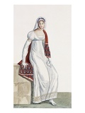 Ladies Day Dress, 1811 (Coloured Engraving) Giclee Print by Pierre de La Mesangere