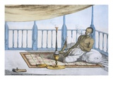 Man Smoking a Hookah of Hashish or Opium Giclee Print by Franz Balthazar Solvyns