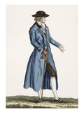 Gentleman in Blue Coat, Plate from 'Galeries Des Modes Et Costumes Francais', C.1778-87 Giclee Print by Pierre Thomas Le Clerc