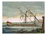 The Lead Galley under Way by Oar, from 'Le Naptune Francois', C.1693-1700 (Hand-Coloured Engraving) Giclee Print by Pierre Mortier