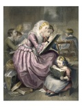 The Drawing School, C.1835 (Colour Litho) Giclee Print by  French