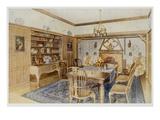 Oak Panelled Dining Room (Colour Litho) Giclee Print by Richard Goulburn Lovell
