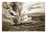 Second-Lieutenant Patrick About to Land Alongside a German Aeroplane Which He Had Shot Down (Litho) Giclee Print by W. Avis