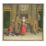 Lady in Her Bedroom, Published C.1688-90 (Coloured Engraving) Giclee Print by Jean Dieu De Saint-jean
