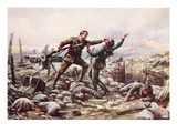 Private J. Boyd, Single-Handed, Captures a Machine Gun (Colour Litho) Giclee Print by Harold Hume Piffard