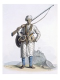 Behaleea or Hindu Soldier, from 'Costumes of India' by E. Orme, 1804 (Coloured Etching) Giclee Print by Franz Balthazar Solvyns