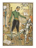 Don Quixote Testing His Helmet, Illustration from 'Don Quixote of the Mancha' Giclee Print by Walter Crane