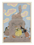 Mandoline, Illustration for 'Fetes Galantes' by Paul Verlaine (1844-96) 1928 (Pochoir Print) Giclee Print by Georges Barbier