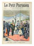 Tsar Nicolas II with His Wife, Tsarina Alexandra are Welcomed at Dunkirk by President Loubet Giclee Print by  Carrey