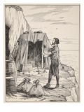 Robinson Crusoe Building His Shelter Giclee Print by  English