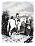 Marie and Little Pierre on a Horse, Illustration from 'The Devil's Pool' by George Sands, 1851 Reproduction procédé giclée par Tony Johannot