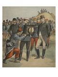 With the Army Manoeuvres: the Duke of Connaught Testing the Bag of a Soldier Giclee Print by  French