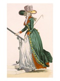 Lady Wearing German Style Riding Outfit, Engraved by Le Beau, Plate No.250 Lámina giclée por Francois Louis Joseph Watteau