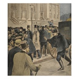 Emile Zola Outside the Courthouse Giclee Print by Henri Meyer