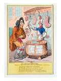 The British Butcher Supplying John Bull with a Substitute for Bread&#39;, 1795 (Colour Litho) Giclee Print by James Gillray