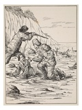 Robinson Crusoe and Friday Rescuing the Spaniard Giclee Print by  English