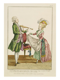 A Gentleman Playing the Violin While a Lady Dances, Engraved by J. Pelicier, C.1780-90 (Engraving) Giclee Print by Pierre Thomas Le Clerc