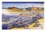 Fuji from the Ford at Kanaya (Colour Woodblock Print) Giclée-Druck von Katsushika Hokusai
