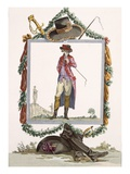 Young Elegant Courtier of the Palais Royal, Engraved by Duhamel, Plate No.233 Giclee Print by Francois Louis Joseph Watteau