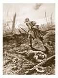 Private T.G. Turrall Guarding a Wounded Officer and Holding His Ground Amid Machine-Gun Fire Giclee Print by Alfred Pearse