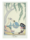 Water, 1925 (Pochoir Print) Premium Giclée-tryk af Georges Barbier