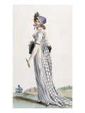 Ladies Walking Dress, Illustration from 'Journal Des Dames Et Des Modes', 1800 (Coloured Engraving) Giclee Print by Pierre de La Mesangere