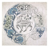 sara', Circular Design with Goat (Gouache and Pencil on Paper) Giclee Print by William De Morgan