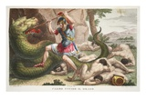 The Serpent Is Killed by Cadmus, Illustration from Ovid's Metamorphoses, Florence, 1832 Premium Giclee Print by Luigi Ademollo