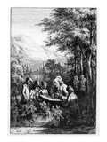 Jean-Jacques Rousseau Teaching a Group of Children (Engraving) Giclee Print by  French