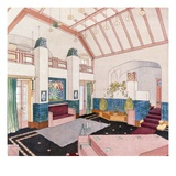 Jugendstil or Early Modernist Style Living Room (Colour Litho) Giclee Print by  German