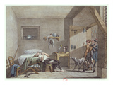 The Death of Condorcet in Prison on 28th March, 1794 (Colour Litho) Giclee Print by Alexandre Evariste Fragonard
